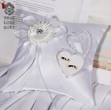 20x20cm White Square Wedding Ring Cushion 3D Flower Heart Shape Cushion Wedding