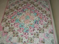 NEW HANDMADE BABY GIRL CRIB QUILT TODDLER BLANKET PATCHWORK FLANNEL PINK FAIRIES
