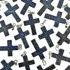Wholesale 25 x LAPIS LAZULI Gemstone CROSS Charms Pendants 18x25mm