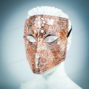 Rose Gold Metal Laser Cut Venetian Buata Style Halloween Men Masquerade Mask