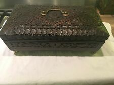 Antique Anglo Indian Carved Hardwood Casket,box On Ball Feet