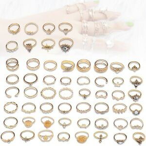 56Pcs Vintage Gold Knuckle Rings Set for Girls Wedding Party Accessories Jewelry