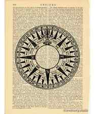 Compass Rose 1 Art Print on Antique Book Page Vintage Illustration Marine Device