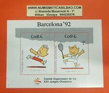 ESPAÑA 1992 HOJITA DE RECUERDO COBI 2 SELLOS JUEGOS OLIMPICOS DE BARCELONA 92