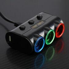 3 Way Triple Car Cigarette Lighter Socket Splitter LED Light Switch+2 USB DC 12V