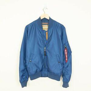 ALPHA INDUSTRIES Men's Blue Bomber Jacket - Size M - Good Condition
