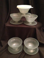 Vintage Tupperware Pudding Jello Dessert Custard Smoke Grey Cups Lid Bases