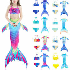 3x Kid Girl Mermaid Tail Swimsuit Swimming Swimwear Costumes Swimmable Suit Set