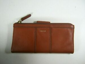FOSSIL ELLA Genuine Leather Zipper Top Wallet Brown Clutch New NWT $70