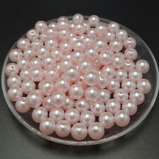 NEW 6mm 100pcs Acrylic Round Pearl Spacer Loose Beads Jewelry Making craft #03