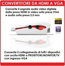 ADATTATORE HDMI A VGA FULL HD PS3 PROIETTORE TV XBOX ANDOID APPLE TV SKY HD
