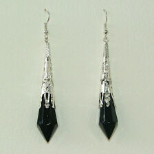 BLACK GLASS VICTORIAN STYLE Drop EARRINGS SILVER PLATED FILIGREE hook Y code