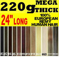 """MEGA THICK DELUXE 24"""" INCH CLIP IN REMY HUMAN HAIR EXTENSIONS Brown Blonde Black"""