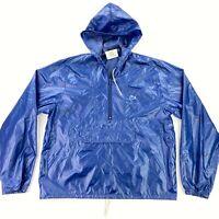 VTG Izod Lacoste Men's Windbreaker Half Zip Hooded Rain Jacket Blue • LARGE