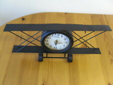 Quartz Desk Clock in Metal Bi-Plane Black Frame on two wheels