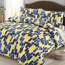 Geometric Stripe Blue Yellow Multi-Colour Duvet Quilt Cover Set All Sizes
