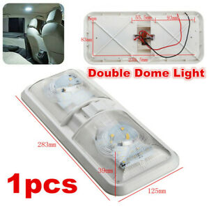 1pcs LED 12V Double White RV Caravan Trailer Boat Interior Ceiling Dome Light