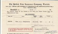 The British Law Insurance Company Limited 1948 Fire Insurance Receipt Ref 38225