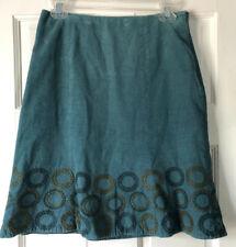 Boden Womens Aqua Corduroy Embroidered Skirt Sz US 4 UK 8