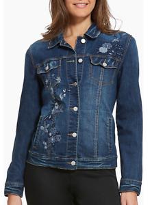 Bandolino Sarah San Francisco Blue Floral Embroidered Stretch  Denim Jacket