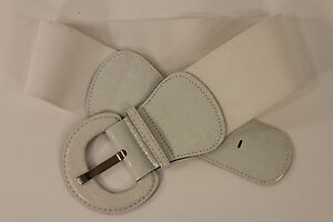 Women White Fashion Belt Elastic Low Hip / High Waist Stretch Wide Faux Leather