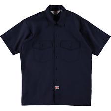 Ben Davis Short Sleeve Button Up Work Shirt Solid Navy