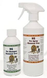 KG Wash & Go Pet Shampoo 250ml & Spray 500ml for Mange, Fleas & Skin Problems