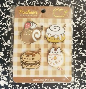 New Pusheen the Cat Patisserie Pins Set of 4 - Pastries Donut Cinnamon Roll Food