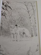Marguerite Kirmse Pencil Signed Etching of Aristocrats, Two Borzoi in the Snow