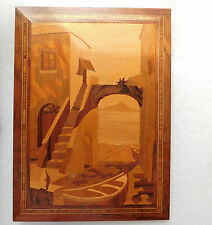 Vintage Sorrento Italian marquetry picture Hand inlaid rose wood signed Augusto