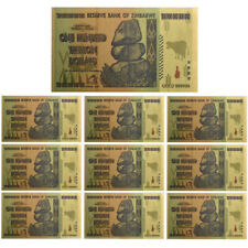10pcs Zimbabwe 100 Trillion Dollars Banknote Gold Foil Bill World Money Collect