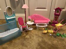 Lot Of Barbie Gloria Furniture And Accessories Sofa Bathtub Tables Gardening