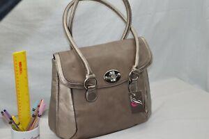 FAUX LEATHER - NEW - Jane Shilton Designer Shoulderbag Handbag - PEWTER + TAUPE
