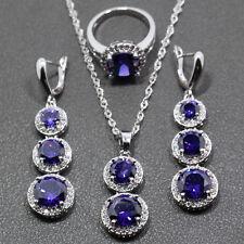 En Caja Mujeres Damas Violeta Cristal Anillo de piedra collar conjunto de joyas con forma de gota cubiertos