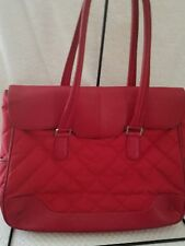 Knomo Leather Quilted Laptop Bag Red Briefcase