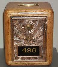 Oak Post Office Box Door Bank-Bronze Eagle w/Brass Slot