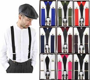 Men Suspender Braces Classic Vintage Retro Trouser Gatsby Peaky Blinders Multi