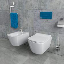 Design Wand Hänge WC Toilette + Bidet Spülrandlos inkl. WC-Sitz EG321-SET