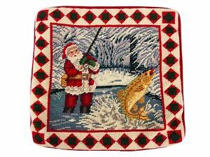 "Vintage Needlepoint Santa Clause Christmas Tree Decor Pillow Fishing 14"" X 13.5"""