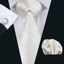 Classic Lvory Mens Tie 100% Silk Necktie Floral Handkerchif Set Lot Woven C-1174