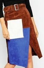 NEW ASOS LEVRON SKIRT   Brown 100% leather  Suede Wrap Pencil Skirt uk 12