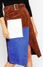 ASOS Levron Skirt Brown 100 Leather Suede Wrap Pencil Skirt UK 12