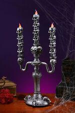 "16"" LED Candelabra Battery Powered Halloween Lights Lamp 3 Candle Light Skulls"