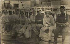 Navy Sailors Sitting on Boat c11910 Real Photo Postcard - Nice Image