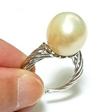 Superb 13.2mm Australian South Sea Natural Round Pale Gold Pearl Ring Size 7 - 8