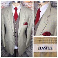 Haspel Silk Wool Beige Blue Glen Plaid Sport Coat Jacket Mens Size 44 Long