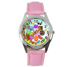 Candy Crush dulce película de piel rosa de videojuegos película Reloj de DVD Redondo De Acero