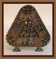 Vintage Shalom/Jerusalem Metal Letter/Napkin HOLDER - Colorful Design