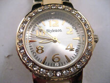 Style&co Gold Dress Sport Watch Pave Dial Crystal Bezel Metal Band Macy's New