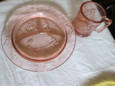 Vintage Indiana Tiara Glass PINK Child's Divided Nursery Rhymes Plate and Cup